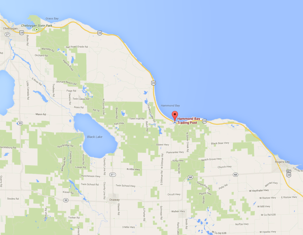 Contact Us Hammond Bay Trading Post - Map of us 23 in michigan